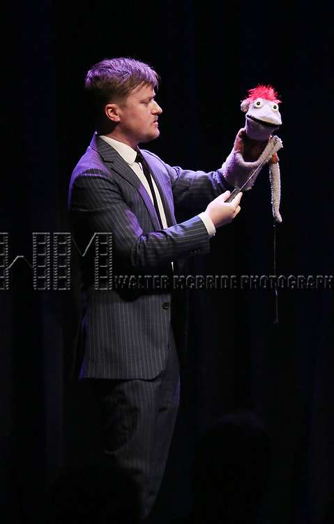 Steven Boyer and Tyrone on stage at the Vineyard Theatre 2017 Gala at the Edison Ballroom on March 14, 2017 in New York City.