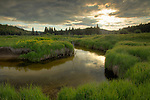 Idaho, North Central, Clearwater National Forest, Clearwater County, Weippe. Evening light over Musselshell Meadows and pond.
