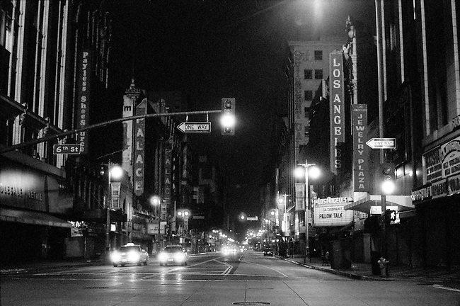 Broadway at Night in Downtown Los Angeles, CA. (USA)<br />