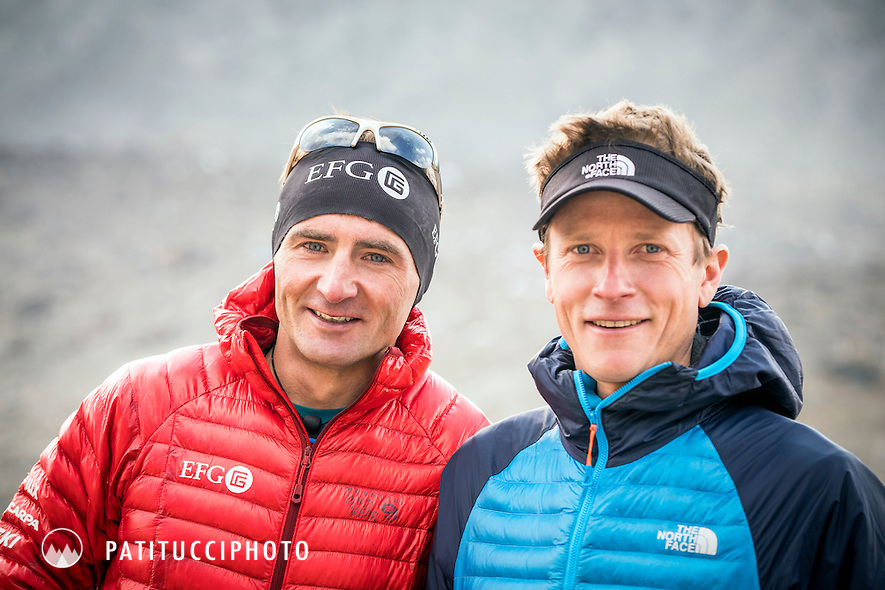 A portrait of David Göttler and Ueli Steck during their climbing expedition to the 8000 meter peak Shishapangma, Tibet