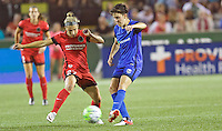 Portland, OR - Saturday July 30, 2016: Maureen Fitzgerald, Keelin Winters during a regular season National Women's Soccer League (NWSL) match between the Portland Thorns FC and Seattle Reign FC at Providence Park.