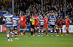 Referee Nigel Lewis blows the final whistle as Toulouse celebrate their victory - European Rugby Champions Cup - Bath Rugby vs Toulouse - Recreation Ground Bath - Season 2014/15 - October 25th 2014 - <br /> Photo Malcolm Couzens/Sportimage