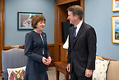 United States Senator Susan Collins (Republican of Maine), left, meets Judge Brett M. Kavanaugh, right, US President Donald J. Trump's nominee to replace Justice Anthony Kennedy on the US Supreme Court, to her office on Capitol Hill in Washington, DC on Tuesday, August 21, 2018.<br /> Credit: Ron Sachs / CNP