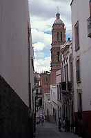Narrow street in the city of Zacatecas, Mexico. The historic centre of Zacatecas is a UNESCO World Heritage site.