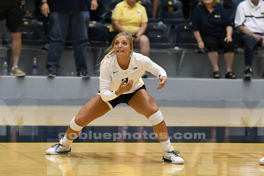 The University of Michigan volleyball team beats Butler, 3-0,  at Cliff Keen Arena in Ann Arbor on Sept.1, 2017.