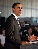 Bedford Heights, OH - January 16, 2009 -- United States President Elect Barack Obama speaks during an appearance at Cardinal Fastener & Specialty Company, Inc., in Bedford Heights, Ohio, USA, 16 January 2009.  Obama met with workers at the company, which produces parts  used to construct wind turbines, to discuss an American Recovery and Reinvestment Plan, which would aim to create nearly half a million American jobs by investing in clean energy.  .Credit: David Maxwell - Pool via CNP
