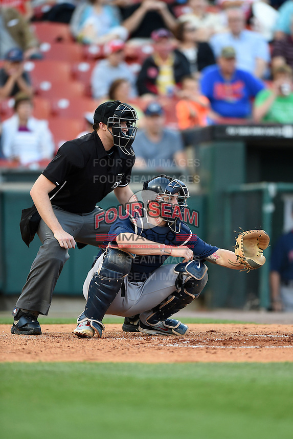 Home plate umpire Nick Lentz and Pawtucket Red Sox catcher Blake Swihart (2) during a game against the Buffalo Bisons on August 23, 2014 at Coca-Cola Field in Buffalo, New  York.  Buffalo defeated Pawtucket 15-2.  (Mike Janes/Four Seam Images)