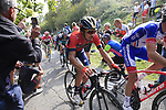 The lead group of riders climb the brutal 30% Muro di Surmano during the 112th edition of Il Lombardia 2018, the final monument of the season running 241km from Bergamo to Como, Lombardy, Italy. 13th October 2018.<br /> Picture: Eoin Clarke | Cyclefile<br /> <br /> <br /> All photos usage must carry mandatory copyright credit (© Cyclefile | Eoin Clarke)