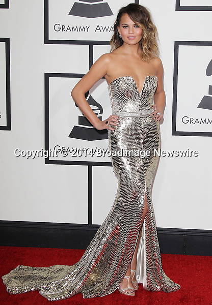 Pictured: Christine Teigen<br /> Mandatory Credit &copy; Frederick Taylor/Broadimage<br /> 56th Annual Grammy Awards - Red Carpet<br /> <br /> 1/26/14, Los Angeles, California, United States of America<br /> <br /> Broadimage Newswire<br /> Los Angeles 1+  (310) 301-1027<br /> New York      1+  (646) 827-9134<br /> sales@broadimage.com<br /> http://www.broadimage.com