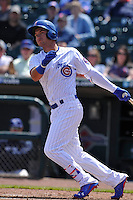 Iowa Cubs Albert Almora Jr. (6) swings during the game against the New Orleans Zephyrs at Principal Park on April 14, 2016 in Des Moines, Iowa.  The Cubs won 4-2 .  (Dennis Hubbard/Four Seam Images)