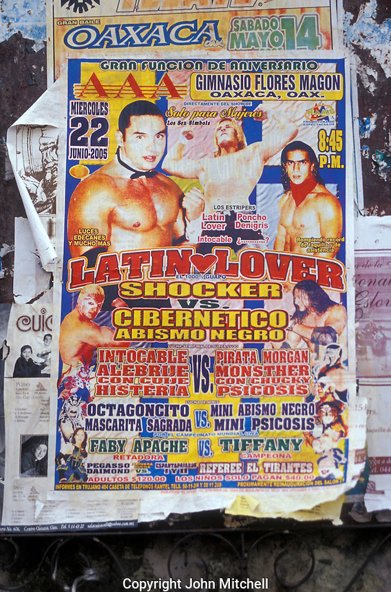 Mexican wrestling poster in the city of Oaxaca, Mexico