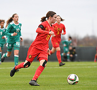 20181205 - TUBIZE , BELGIUM : Belgian Estee Cattoor pictured during the friendly female soccer match between Women under 15 teams of  Belgium and Gemany , in Tubize , Belgium . Wednesday 5 th December 2018 . PHOTO SPORTPIX.BE / DIRK VUYLSTEKE