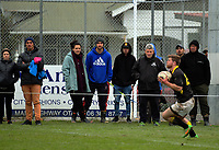 Fans watch as Andrew Wells takes a high ball during the Mitre 10 Cup preseason rugby match between the Wellington Lions and Manawatu Turbos at Otaki Domain in Otaki, New Zealand on Sunday, 6 August 2017. Photo: Dave Lintott / lintottphoto.co.nz