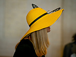 November 3, 2018 : A woman wears a fancy yellow hat on Breeders Cup World Championships Saturday at Churchill Downs on November 3, 2018 in Louisville, Kentucky. ///Eclipse Sportswire/CSM