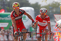 Philippe Gilbert (l) winner and Joaquin Purito Rodriguez, second placed arrival at the finish line during the stage of La Vuelta 2012 between Andorra  and Barcelona.August 26,2012. (ALTERPHOTOS/Paola Otero) /NortePhoto.com<br /> <br /> **CREDITO*OBLIGATORIO** <br /> *No*Venta*A*Terceros*<br /> *No*Sale*So*third*<br /> *** No*Se*Permite*Hacer*Archivo**<br /> *No*Sale*So*third*