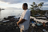 Leala Ioane, from Poutasi village, surveys the damage on the South Eastern coast of Upolo. He lost members of his family, and many are still missing. More than 170 people died when a tsunami triggered by an 8.3 magnitude earthquake hit Samoa and neighbouring Pacific islands on 29/09/2009. Samoa (formerly known as Western Samoa)..