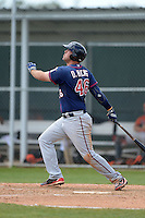 Minnesota Twins first baseman DJ Hicks (46) hits a grand slam home run during a minor league spring training game against the Baltimore Orioles on March 20, 2014 at the Buck O'Neil Complex in Sarasota, Florida.  (Mike Janes/Four Seam Images)