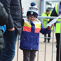 29th February 2020; Cardiff City Stadium, Cardiff, Glamorgan, Wales; English Championship Football, Cardiff City versus Brentford; A young Cardiff City fan awaits the players as they begin to arrive before the game