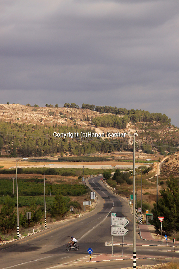 Israel, Shephelah, Road 38, Tel Azekah in the background