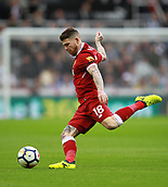 1st October 2017, St James Park, Newcastle upon Tyne, England; EPL Premier League football, Newcastle United versus Liverpool; Alberto Moreno of Liverpool about to clear the ball in the 1-1 draw