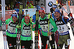 09/02/2017, Hochfilzen - IBU World Championships Biathlon 2017 Hochfilzen.<br /> Mixed Relay race in Hochfilzen, Austria on February 9, 2017. Germany's team with Vanessa Hinz, Laura Dahlmeier, Arnd Peiffer, Simon Schempp wins ahead of France's Anais Chevalier, Marie Dorin Habert, Quentin Fillon Maillet, Martin Fourcade and third is Russia with Olga Podchufarova, Tatiana Akimova, Alexander Loginov and Anton Shipulin.