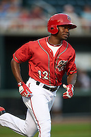 Harrisburg Senators outfielder Derrick Robinson (12) runs to first during a game against the New Hampshire Fisher Cats on July 21, 2015 at Metro Bank Park in Harrisburg, Pennsylvania.  New Hampshire defeated Harrisburg 7-1.  (Mike Janes/Four Seam Images)