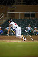 Scottsdale Scorpions Andres Gimenez (2), of the New York Mets organization, starts running toward first base during an Arizona Fall League game against the Glendale Desert Dogs on September 20, 2019 at Salt River Fields at Talking Stick in Scottsdale, Arizona. Scottsdale defeated Glendale 3-2. (Zachary Lucy/Four Seam Images)