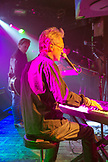 USA, Colorado, Aspen, portrait of Gerry Beckley of the band America singing on stage at Belly Up in downtown Aspen