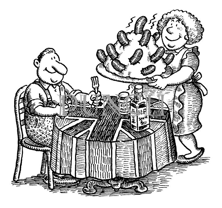 (Man being served bangers and mash: probably illustration for food article on British eating habits)
