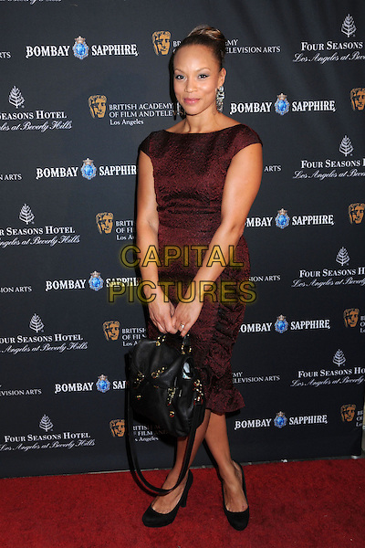 ANGELA GRIFFIN .17th Annual BAFTA Los Angeles Awards Season Tea Party held at the Four Seasons Hotel, Beverly Hills, California, USA, 15th January 2011..full length red maroon burgundy brown dress black bag shoes .CAP/ADM/BP.©Byron Purvis/AdMedia/Capital Pictures.