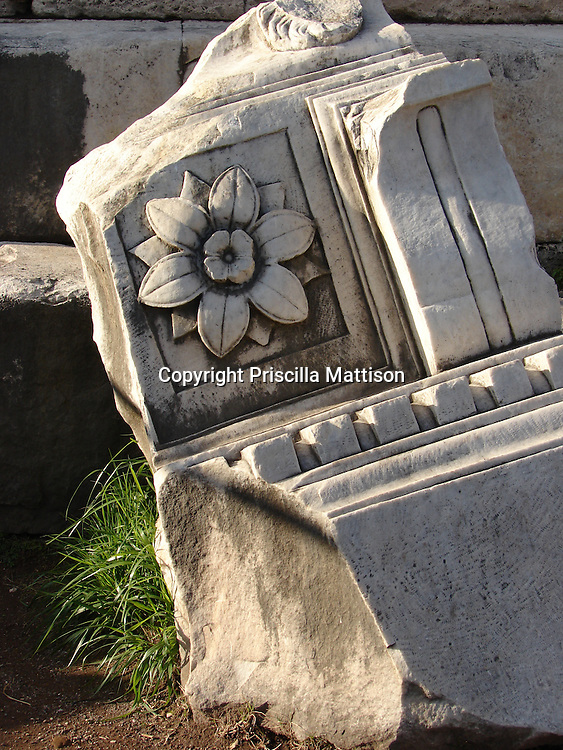Rome, Italy - January 27, 2007:  A flower decorates a leaning stone fragment at the Roman Forum.