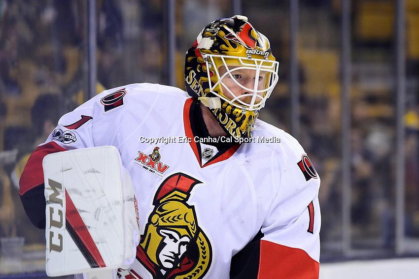 Thursday, April 6, 2017: Ottawa Senators goalie Mike Condon (1) warms up prior to the National Hockey League game between the Ottawa Senators and the Boston Bruins held at TD Garden, in Boston, Mass. Ottawa defeats Boston 2-1 in a shootout. Eric Canha/CSM