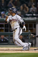 Abiatal Avelino (19) of the Scranton/Wilkes-Barre RailRiders follows through on his swing against the Charlotte Knights at BB&T BallPark on April 12, 2018 in Charlotte, North Carolina.  The RailRiders defeated the Knights 11-1.  (Brian Westerholt/Four Seam Images)