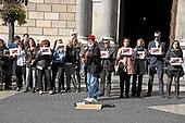 """An unidentified man plays a guitar with the words """"Freedom for Catalunya"""" written on it, on the street in front of the Palau de la Generalitat de Catalunya as he and others advocate for Catalonian independence from Spain on Tuesday, November 7, 2017. The building is a historic palace in Barcelona, Catalonia, that houses the offices of the Presidency of the Generalitat de Catalunya Barcelona. <br /> Credit: Ron Sachs / CNP"""
