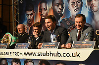 Eddie Hearn (C) during a Press Conference at the Grange City Hotel on 6th February 2019