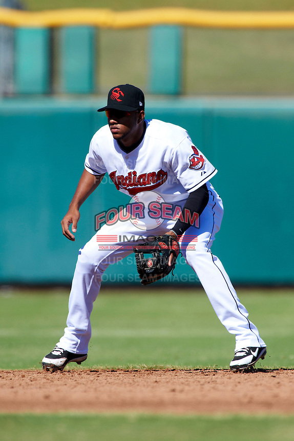 Scottsdale Scorpions shortstop Ronny Rodriguez #8, of the Cleveland Indians organization, during an Arizona Fall League game against the Surprise Saguaros at Scottsdale Stadium on October 16, 2012 in Scottsdale, Arizona.  Surprise defeated Scottsdale 11-3.  (Mike Janes/Four Seam Images)