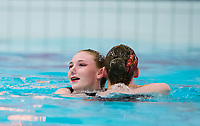 Picture by Allan McKenzie/SWpix.com - 25/11/2017 - Swimming - Swim England Synchronised Swimming National Age Group Championships 2017 - GL1 Leisure Centre, Gloucester, England - Hazel Parke & Laura Benson congratulate each other after their routine.