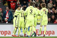 FC Barcelona's players celebrate goal during La Liga match.February 8,2015. (ALTERPHOTOS/Acero) /NORTEphoto.com