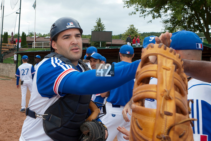 21 June 2011: Vincent Ferreira of Team France is seen during UCLA Alumni 5-3 win over France, at the 2011 Prague Baseball Week, in Prague, Czech Republic.