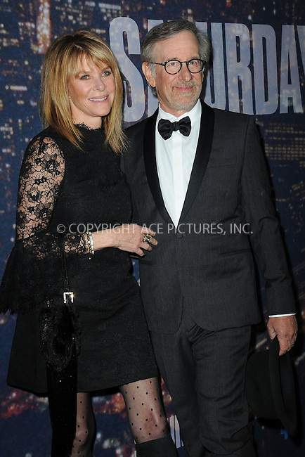 WWW.ACEPIXS.COM<br /> February 15, 2015 New York City<br /> <br />  Kate Capshaw and Steven Spielberg  walking the red carpet at the SNL 40th Anniversary Special at 30 Rockefeller Plaza on February 15, 2015 in New York City.<br /> <br /> Please byline: Kristin Callahan/AcePictures<br /> <br /> ACEPIXS.COM<br /> <br /> Tel: (646) 769 0430<br /> e-mail: info@acepixs.com<br /> web: http://www.acepixs.com