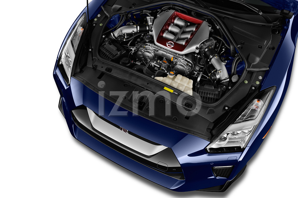 Car stock 2018 Nissan GT-R Track Edition 5 Door Coupe engine high angle detail view