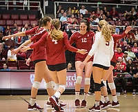 Stanford, CA - October 18, 2019: Madeleine Gates, Meghan McClure, Audriana Fitzmorris, Morgan Hentz at Maples Pavilion. The No. 2 Stanford Cardinal swept the Colorado Buffaloes 3-0.