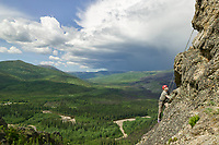 Rock climbing on Angel Rocks, one hour from Fairbanks on the Chena Hot Springs Road, Alaska