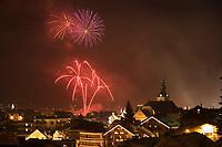 Europe/France/Rhone-Alpes/74/Haute-Savoie/Megève : la sation,feu d'artifice au dessus du village