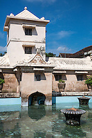 Yogyakarta, Java, Indonesia.  Taman Sari, the Water Castle, mid-18th. Century, incorporating Islamic, Hindu, Chinese, Javanese, and Portuguese Influences in the Design.  The sultan's viewing tower, from which he observed his wives and concubines.