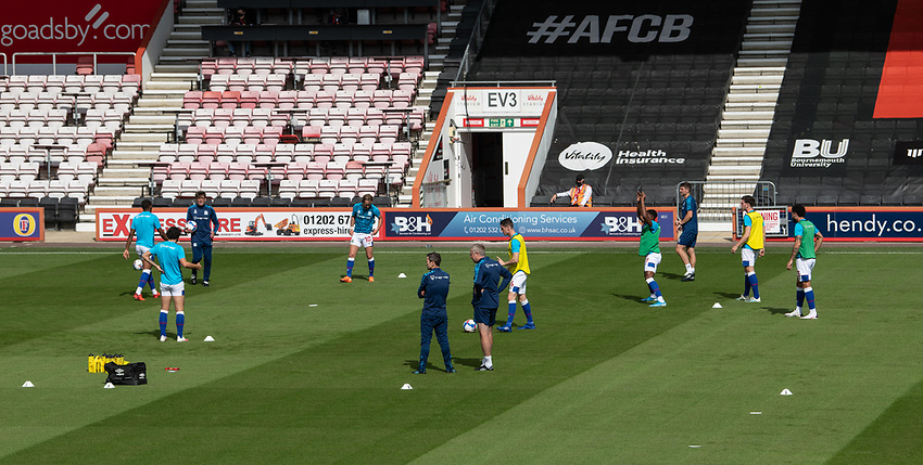 Blackburn Rovers during the pre-match warm-up <br /> <br /> Photographer David Horton/CameraSport <br /> <br /> The EFL Sky Bet Championship - Bournemouth v Blackburn Rovers - Saturday September 12th 2020 - Vitality Stadium - Bournemouth<br /> <br /> World Copyright © 2020 CameraSport. All rights reserved. 43 Linden Ave. Countesthorpe. Leicester. England. LE8 5PG - Tel: +44 (0) 116 277 4147 - admin@camerasport.com - www.camerasport.com