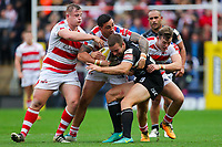 Picture by Alex Whitehead/SWpix.com - 30/09/2017 - Rugby League - Betfred Super League Million Pound Game - Leigh Centurions v Catalans Dragons - Leigh Sports Village, Leigh , England - Catalans' Iain Thornley is tackled by Leigh's Greg Richards, Harrison Hansen and Matthew Fleming.
