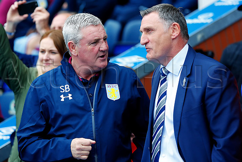 April 29th 2017, Blackburn, Lancashire, England;  Skybet Championship football, Blackburn Rovers versus Aston Villa; Aston Villa Manager Steve Bruce talks to Blackburn Rovers Manager Tony Mowbray