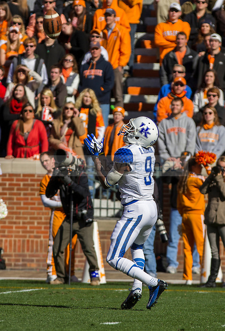 Kentucky sophomore Landon Foster watches the ball into his hands as he fields a Tennessee punt in Knoxville, Tn., on Saturday, November, 24, 2012. Photo by James Holt | Staff