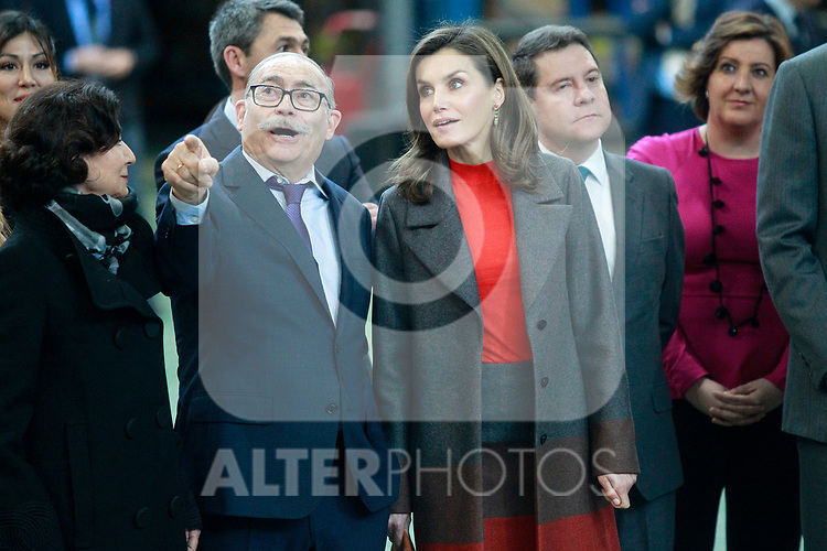 Queen Letizia of Spain with the founder of the company Fructuoso Lopez during the visit to the facilities of the Spanish sportswear company JOMA Sports. January 19, 2018. (ALTERPHOTOS/Acero)